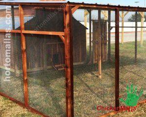 Gallinero con red pajarera para la cría de aves de corral