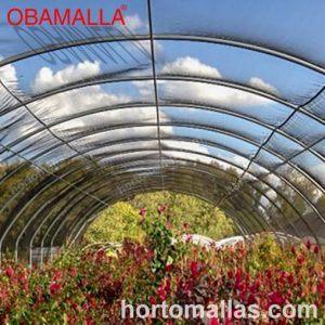 malla sombra OBAMALLA® difuminando los rayos del sol que inciden en cultivos de flores