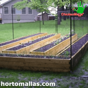 chickenmalla installed on garden for protection