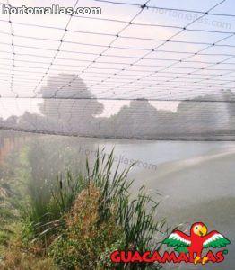 red anti pajaros instalada sobre lago