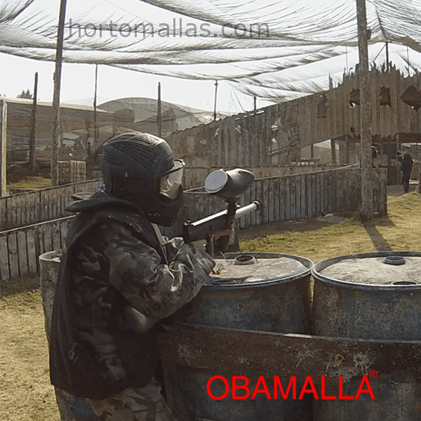 Malla sombra negra en paintball