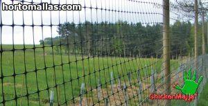 malla avicola instalada sobre campo