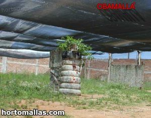 malla sombra Obamalla negra en jardín