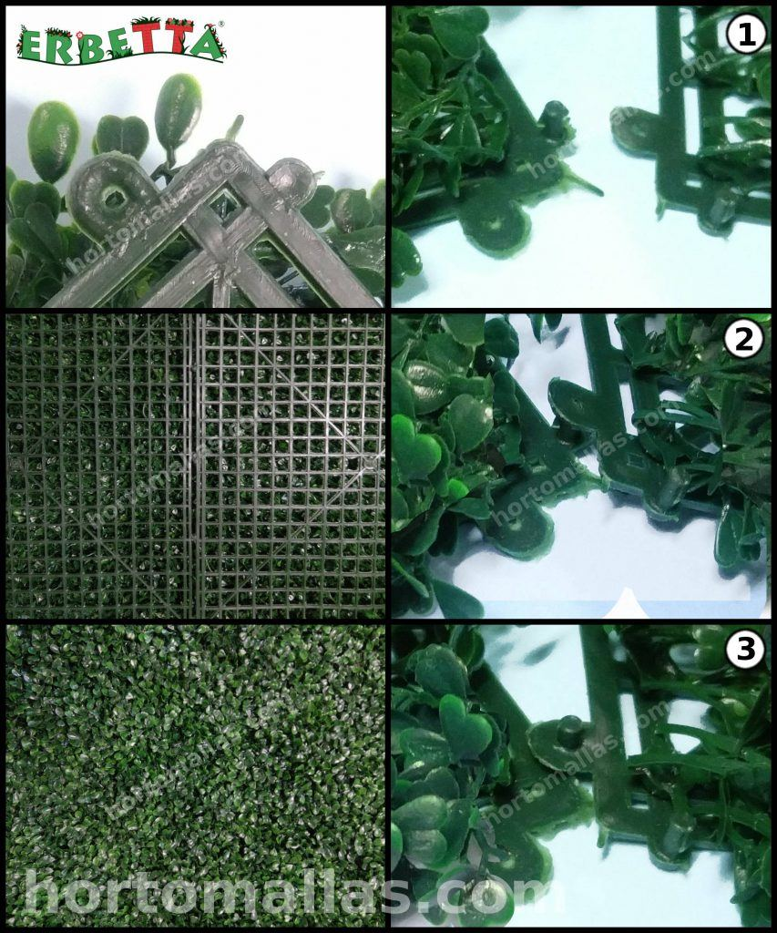 unión de páneles de follaje artificial