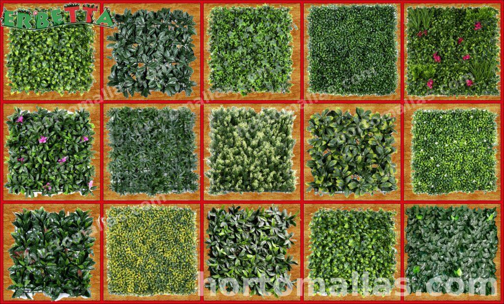 Pastos, arbustos, plantas sintéticas y artificiales