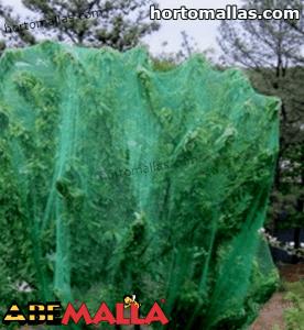 malla de polinización verde sobre arboles en cultivos