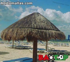 palapa instalada en arena de playa