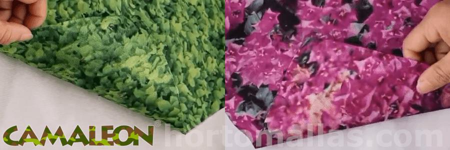 Mallas miméticas CAMALEON® con estampado de hojas ficus y flores buganbilias