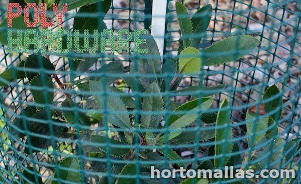 malla de proteccion de jardineras y plantas hardware instalada alrededor de una planta para protegerla