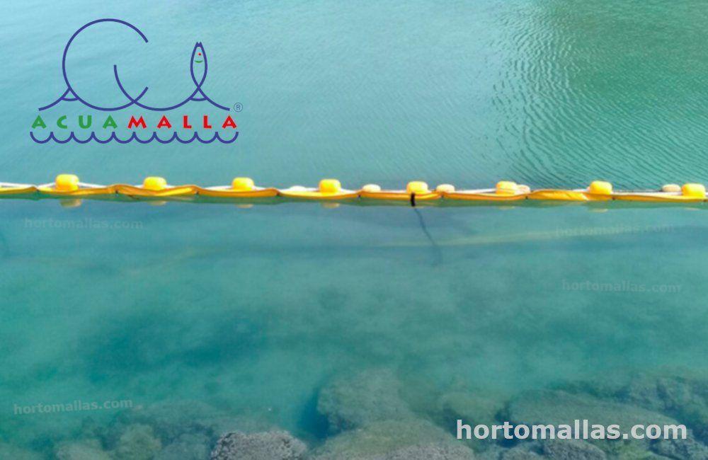 acuamalla anti-medusas delimitando el paso de medusas y algas